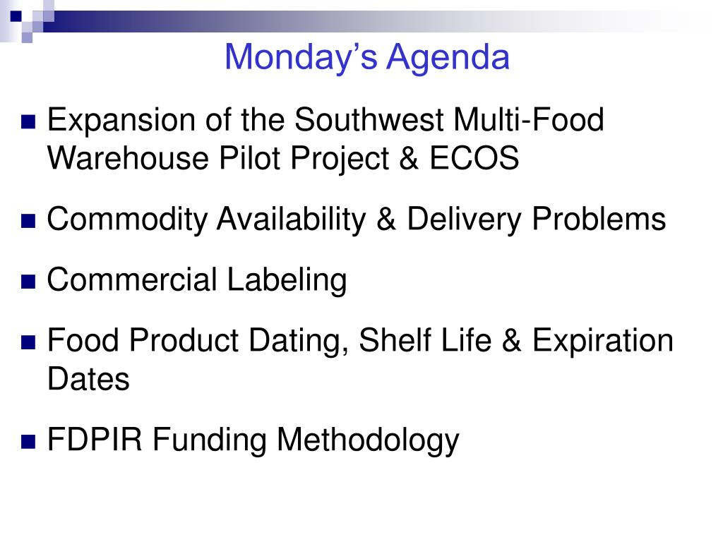 Monday's Agenda