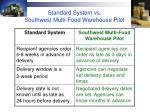 standard system vs southwest multi food warehouse pilot