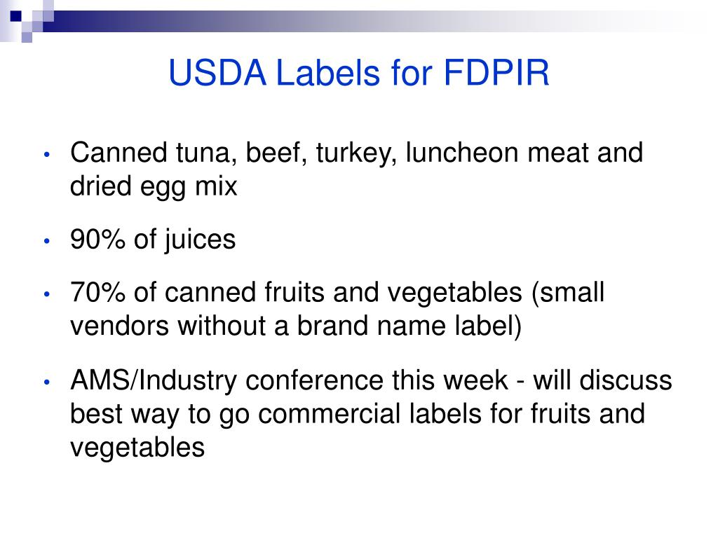 USDA Labels for FDPIR
