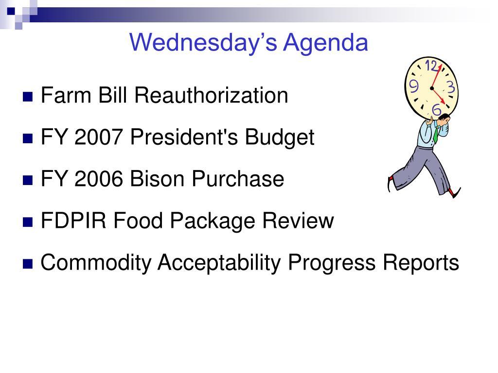 Wednesday's Agenda