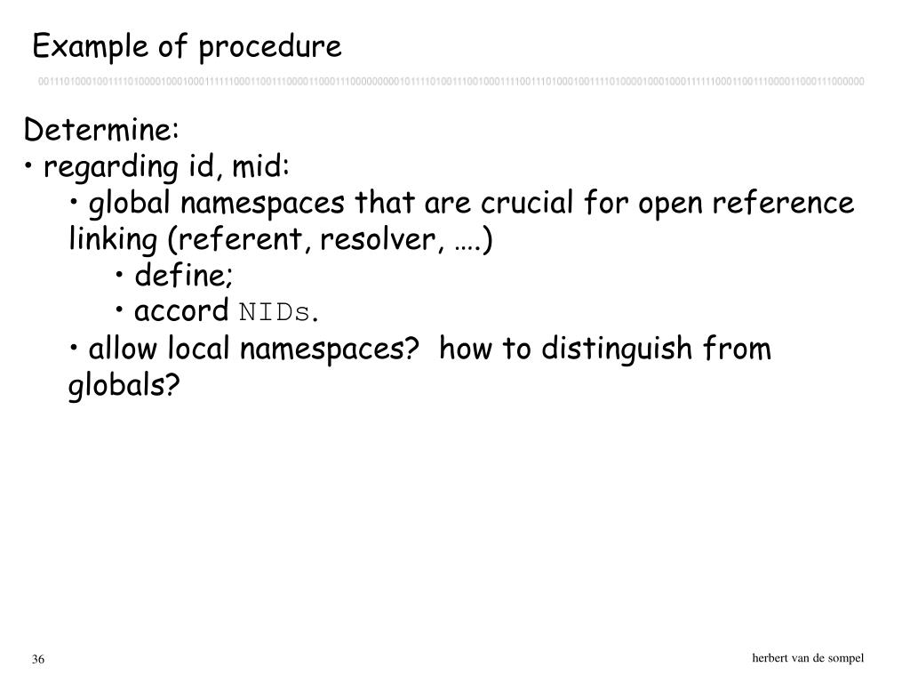 Example of procedure