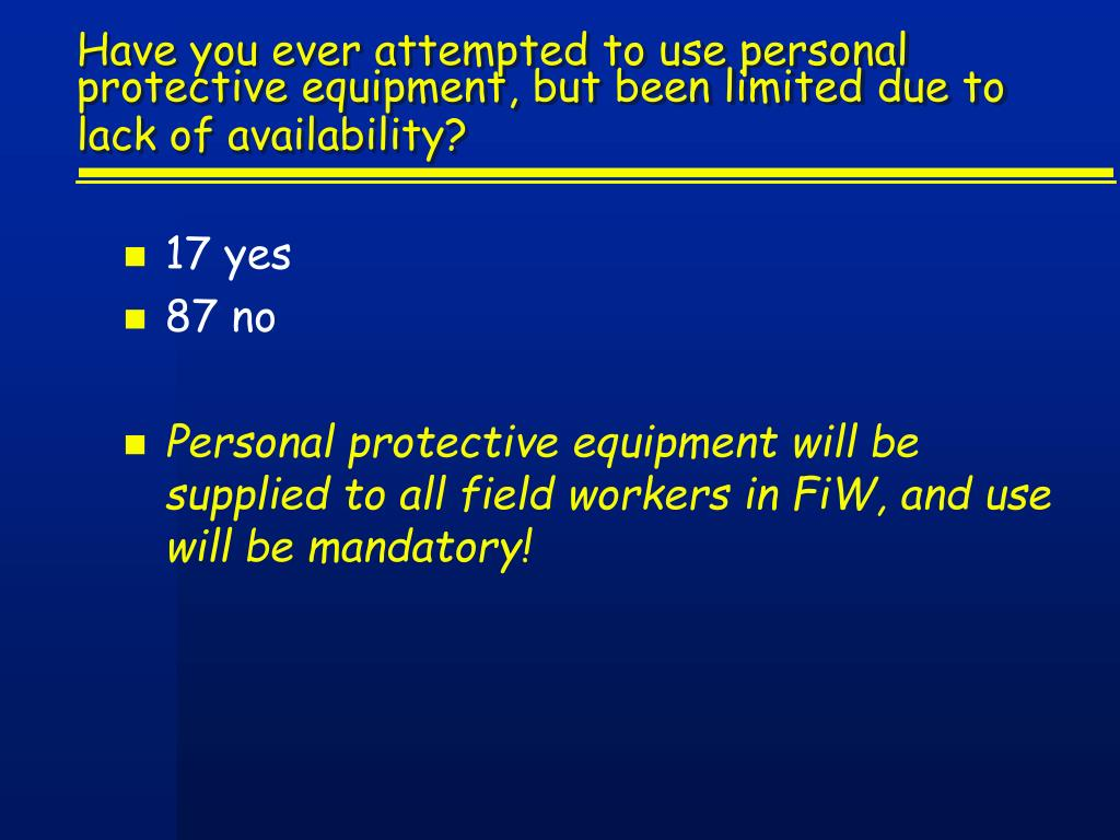 Have you ever attempted to use personal protective equipment, but been limited due to lack of availability?