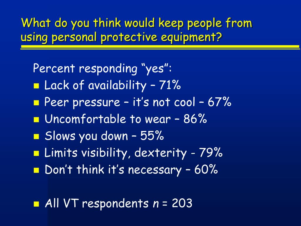 What do you think would keep people from using personal protective equipment?