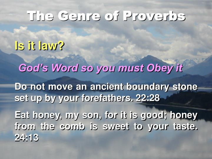 The Genre of Proverbs