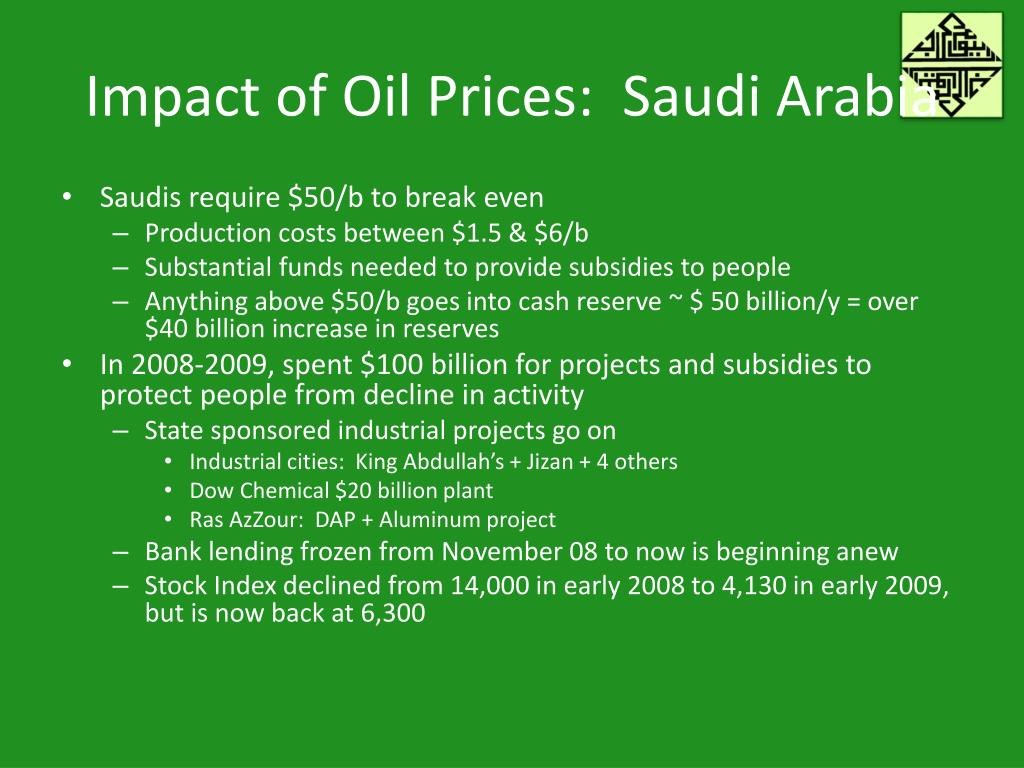 Impact of Oil Prices:  Saudi Arabia