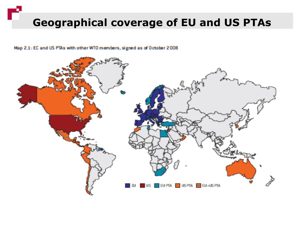 Geographical coverage of EU and US PTAs