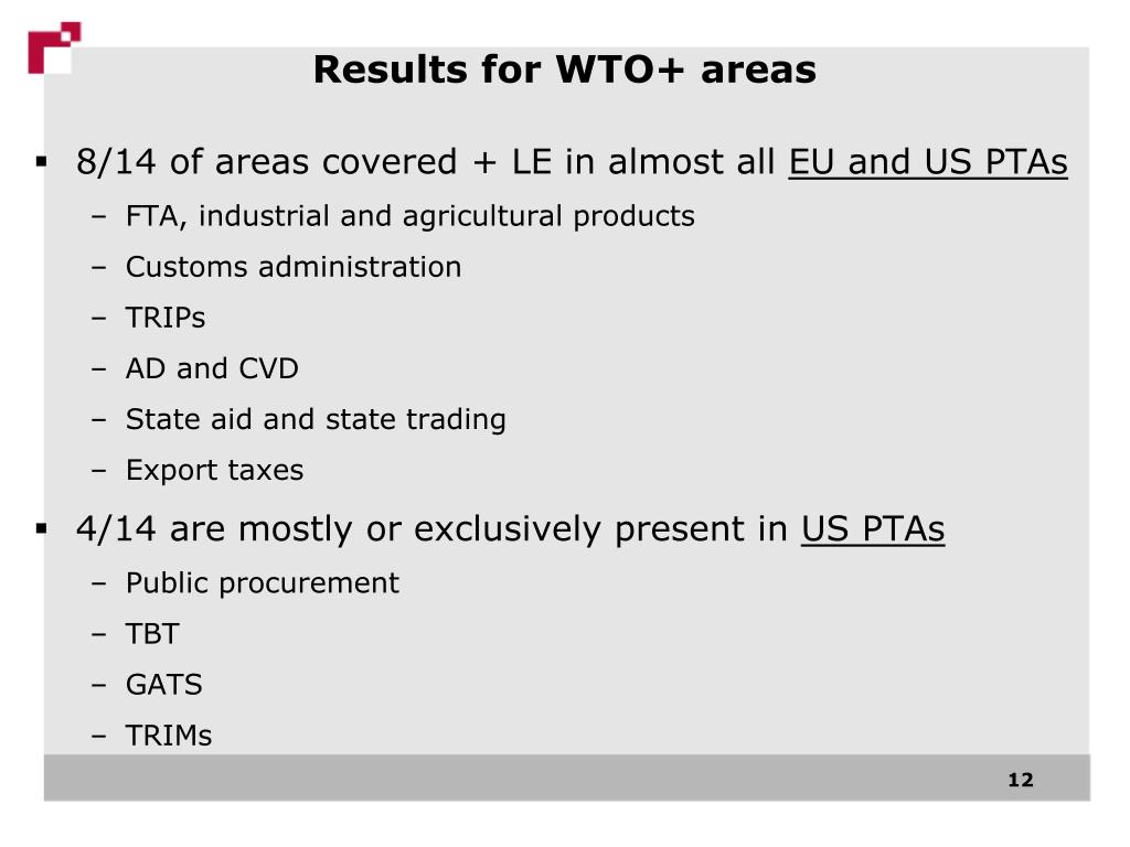 Results for WTO+ areas