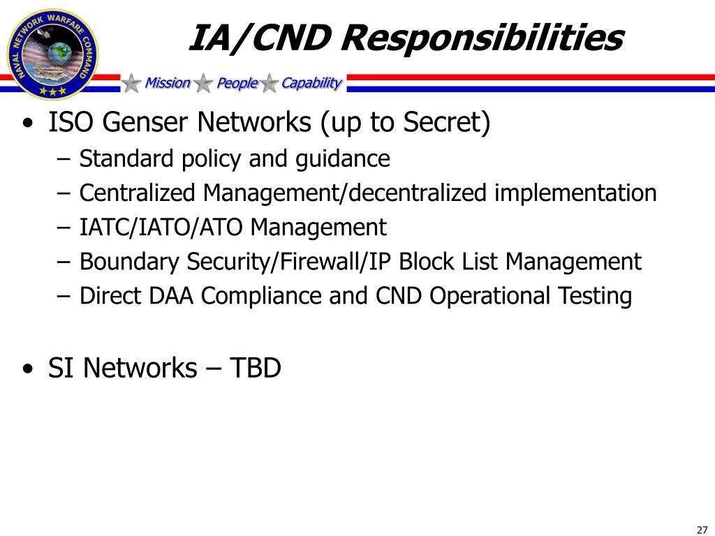 IA/CND Responsibilities