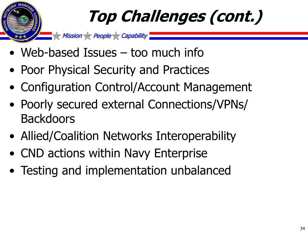 Top Challenges (cont.)