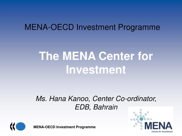 Mena oecd investment programme