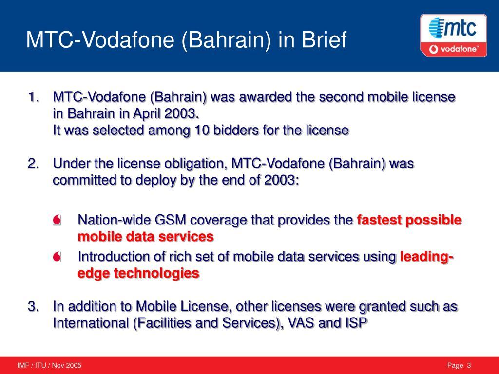 MTC-Vodafone (Bahrain) in Brief