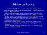 advice on advice