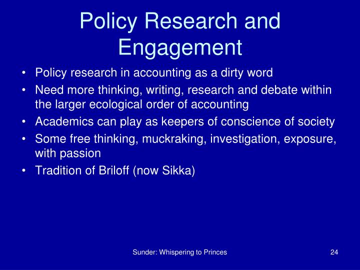 Policy Research and Engagement