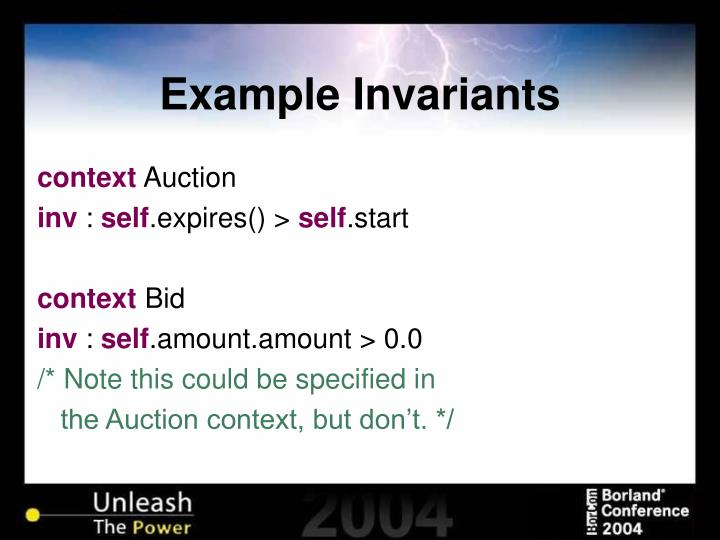 Example Invariants