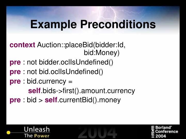 Example Preconditions