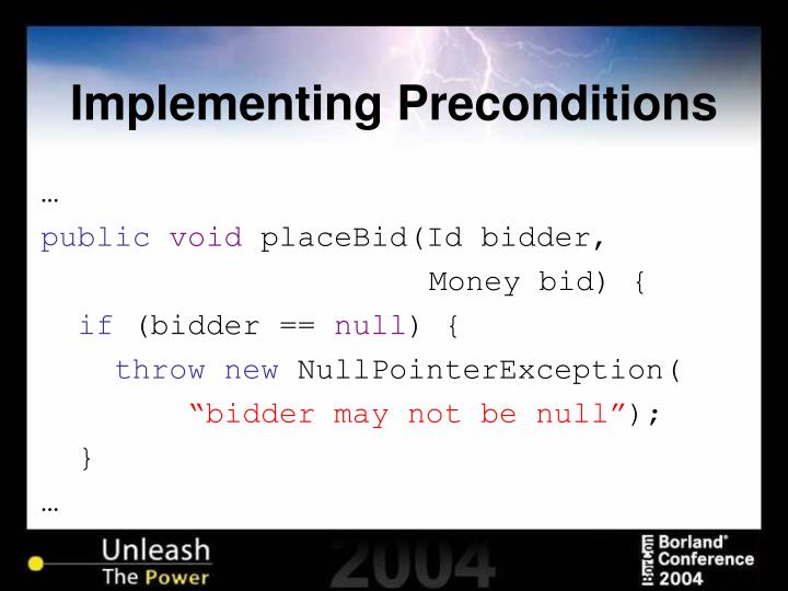 Implementing Preconditions