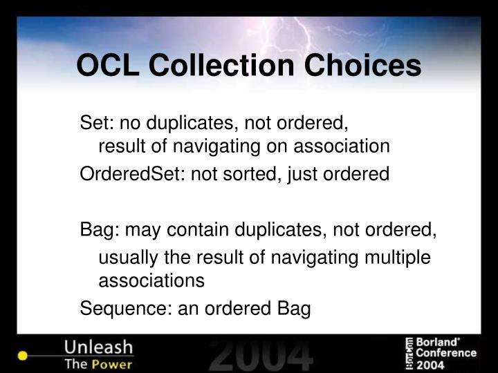 OCL Collection Choices