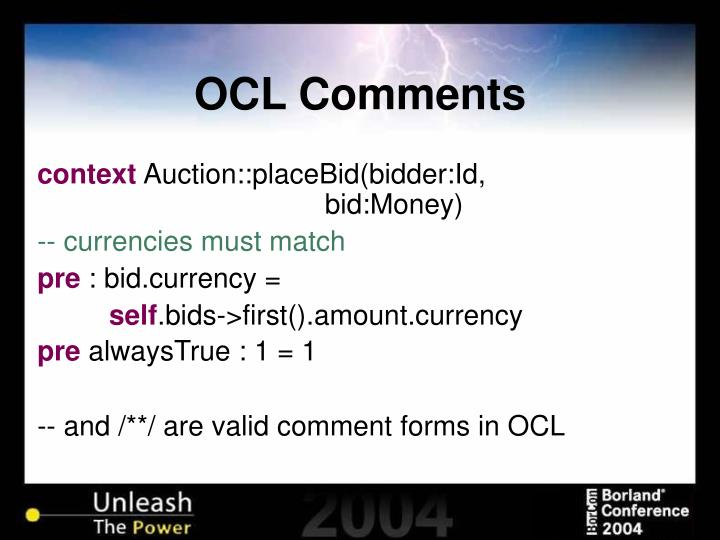 OCL Comments