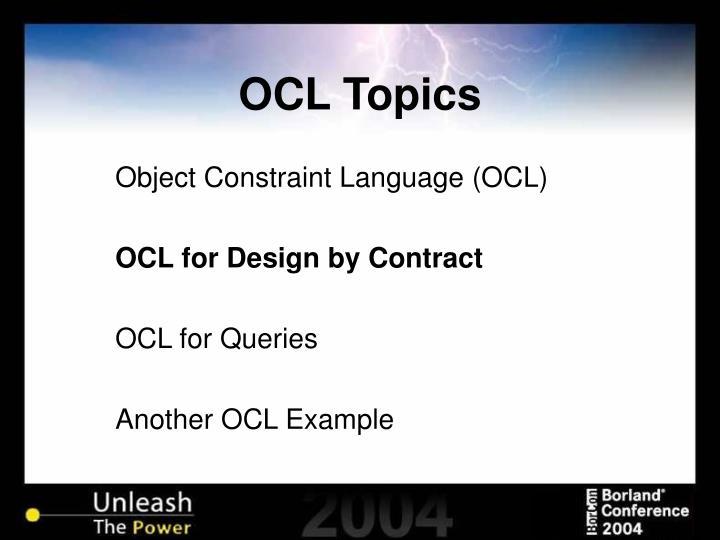 OCL Topics