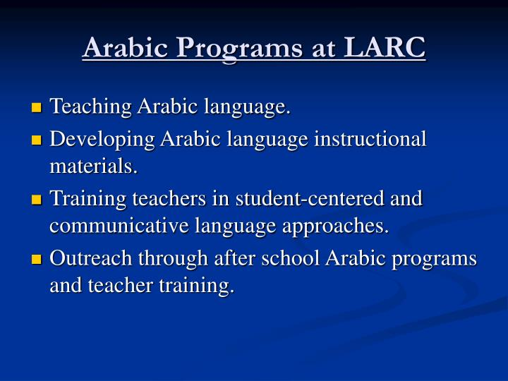 Arabic programs at larc