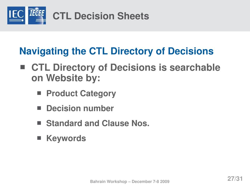 CTL Decision Sheets