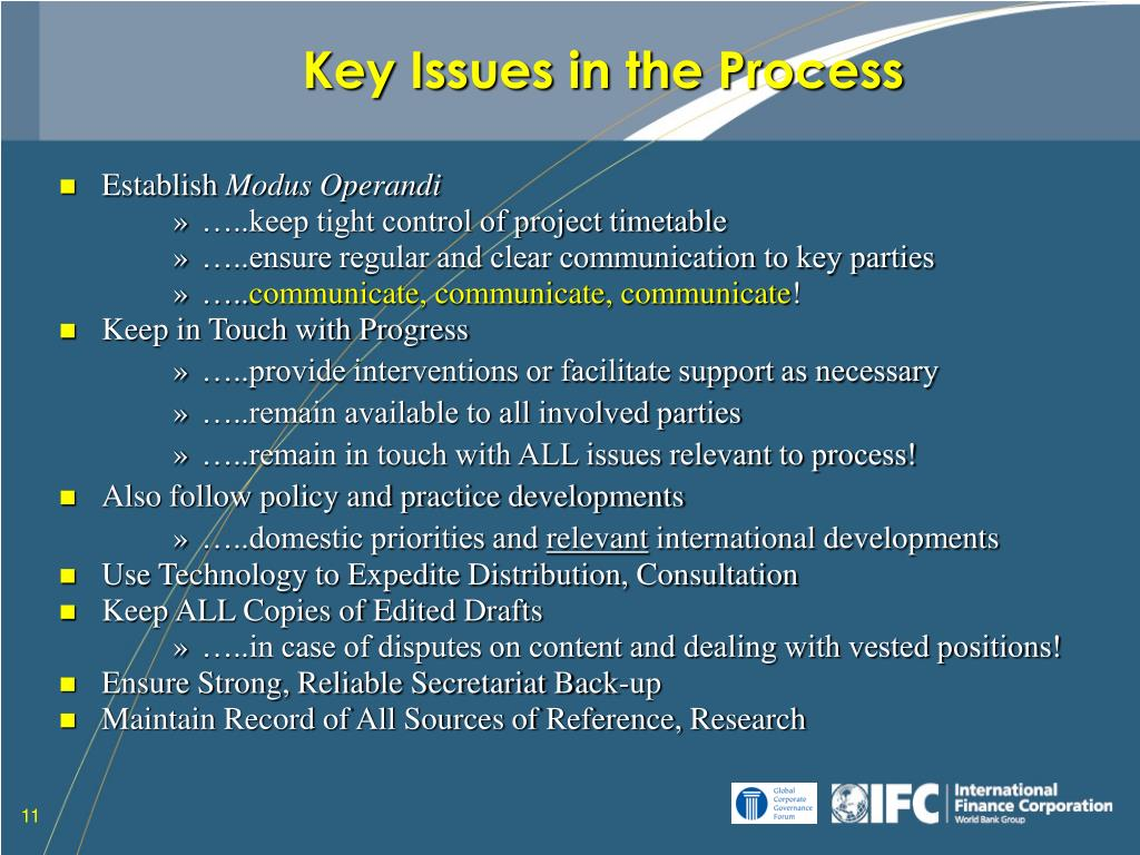 Key Issues in the Process