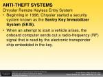 anti theft systems chrysler remote keyless entry system