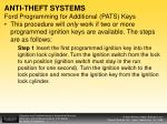 anti theft systems ford programming for additional pats keys