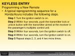 keyless entry programming a new remote