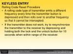 keyless entry rolling code reset procedure