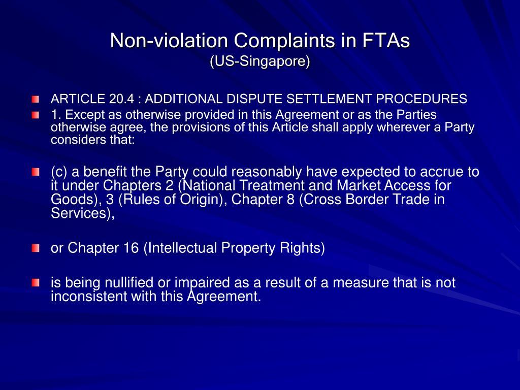 Non-violation Complaints in FTAs
