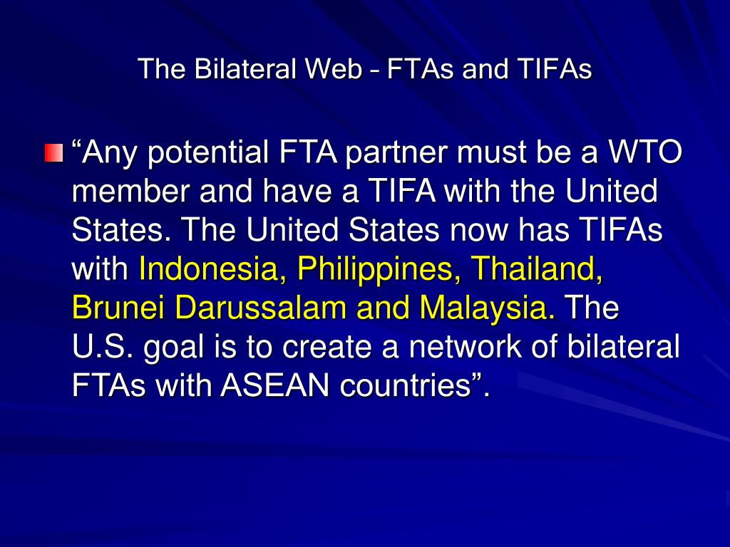 The Bilateral Web – FTAs and TIFAs