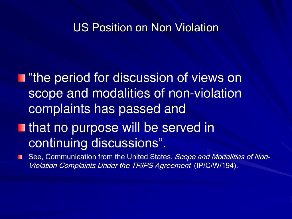 US Position on Non Violation