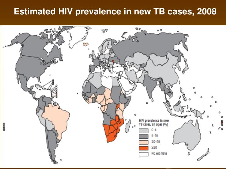 Estimated HIV prevalence in new TB cases, 2008