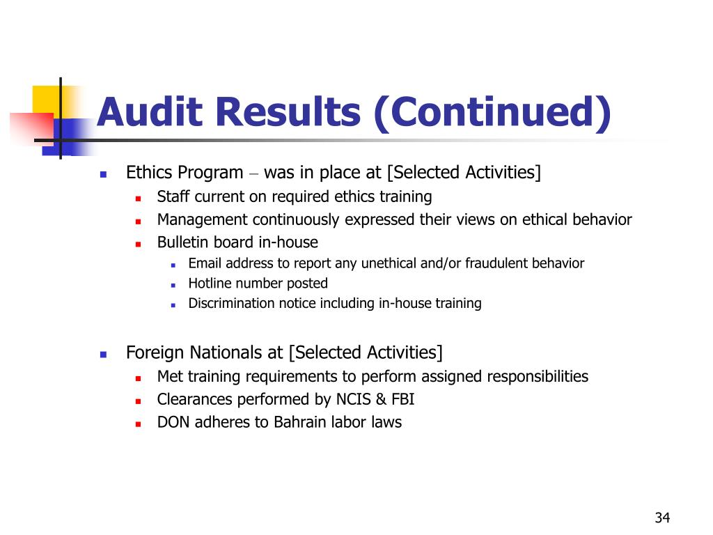 Audit Results (Continued)
