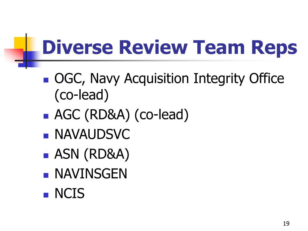 Diverse Review Team Reps