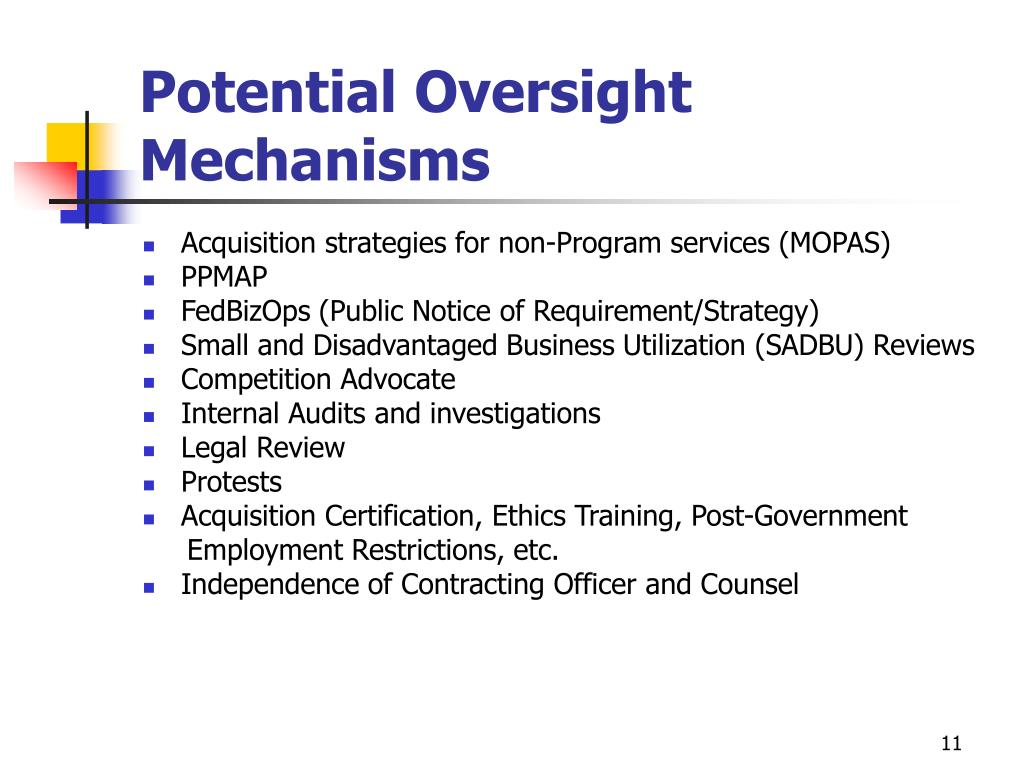 Potential Oversight Mechanisms