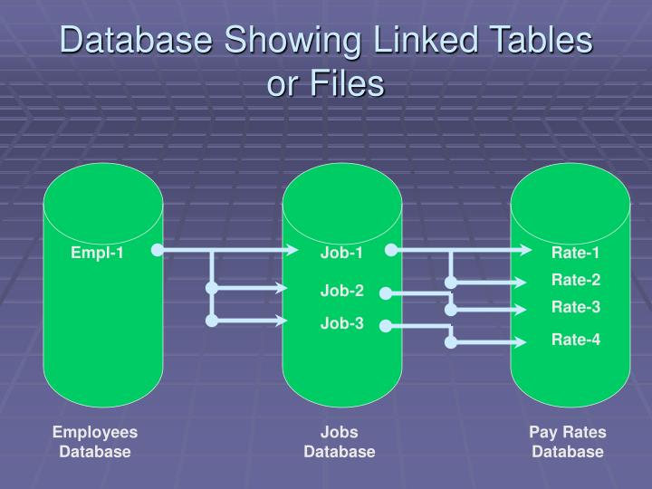Database Showing Linked Tables or Files