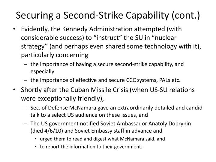 Securing a Second-Strike Capability (cont.)