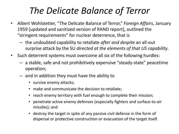 The Delicate Balance of Terror
