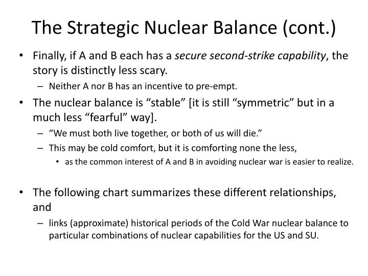 The Strategic Nuclear Balance (cont.)