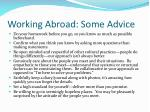 working abroad some advice