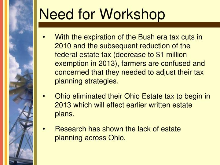 With the expiration of the Bush era tax cuts in 2010 and the subsequent reduction of the federal estate tax (decrease to $1 million exemption in 2013), farmers are confused and concerned that they needed to adjust their tax planning strategies.