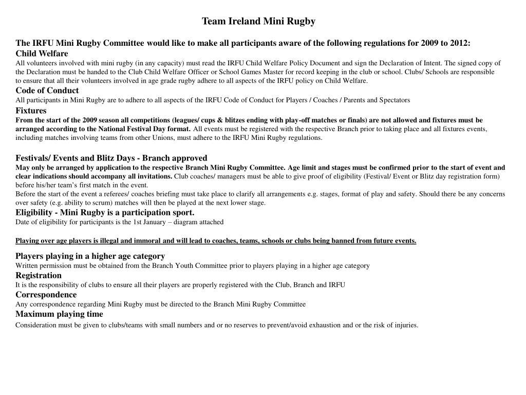 Team Ireland Mini Rugby