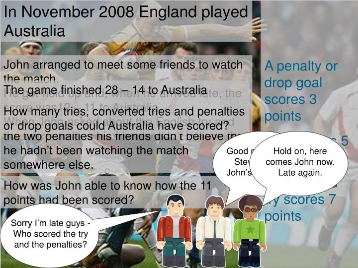 In November 2008 England played Australia