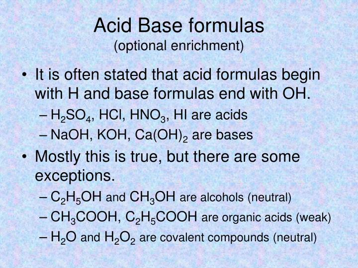Acid Base formulas