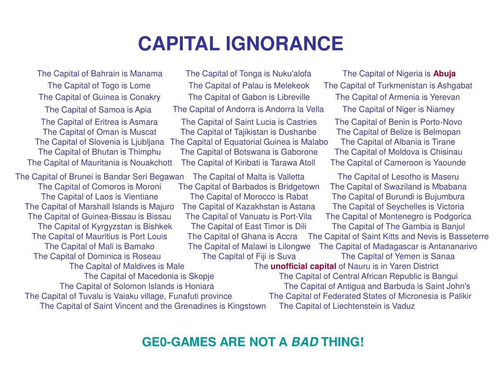 CAPITAL IGNORANCE