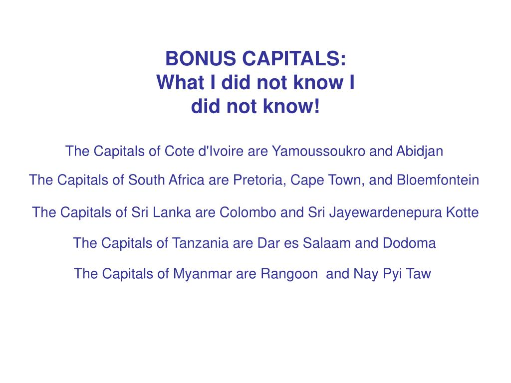 BONUS CAPITALS: