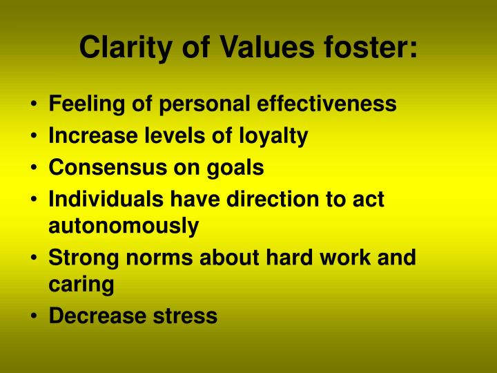 Clarity of Values foster: