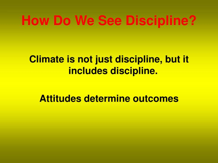 How Do We See Discipline?